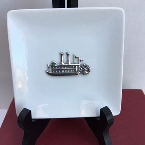 Trinket Tray, White Porcelain Dish, Silver Steamboat