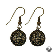 Load image into Gallery viewer, Earring, Round Antique Brass,  Fleur de Lis, Handmade in USA