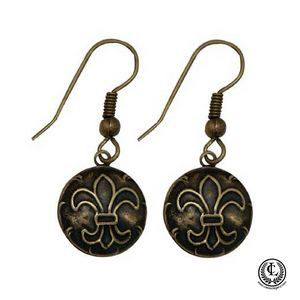 Earring Round Antique Brass Fleur de Lis