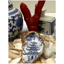 Load image into Gallery viewer, Oyster Shell Ring Dish, Chinoiserie, Blue and White Hostess Gift, Chinese Temple