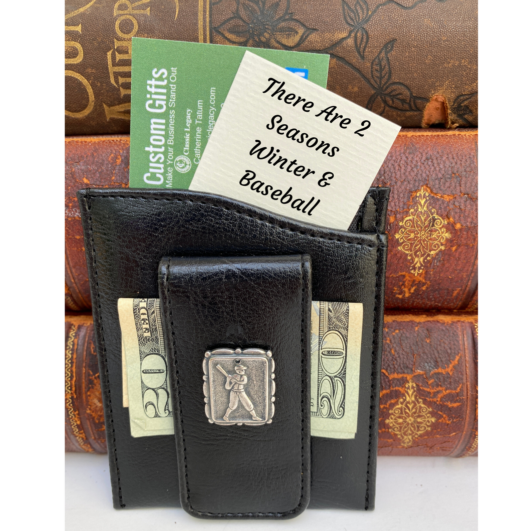 Money Clip, Baseball Player, Black Faux Leather