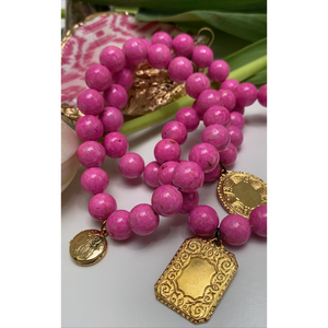 Pink Beaded Bracelet, Vintage Gold Round Locket Charm