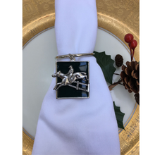 Load image into Gallery viewer, Napkin Ring Antique Silver Horse Jumper Medallion