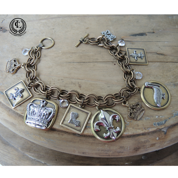 Bracelet Charms State of LA theme and Fleur de Lis