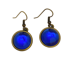 Load image into Gallery viewer, Earring, Iridescent cobalt blue, Antique Gold, French Ear Wire, Handmade in USA