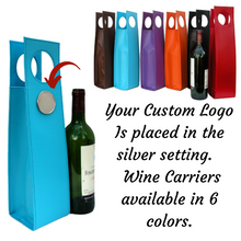 Wine Carrier custom personalized silver setting with logo, art, or photo