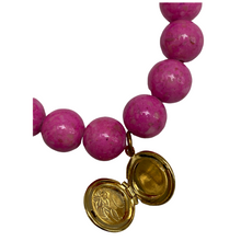 Load image into Gallery viewer, Pink Beaded Bracelet, Vintage Gold Round Locket Charm