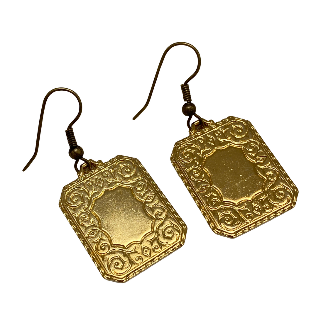 Earrings Vintage Gold Rectangle, French Ear Wire