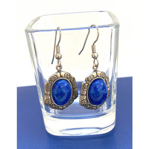 Earrings Vintage Antique Silver Setting | Oval Faux Lapis Setting