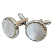 Load image into Gallery viewer, Cuff Links, Round Mother of pearl, Gift Box