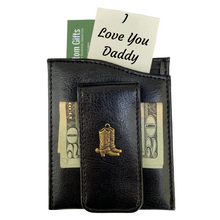 Money Clip, Cowboy Boots,  Black Faux Leather, Gift for Him
