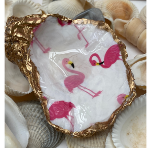 Oyster Shell Jewelry Dish, Pink Flamingo