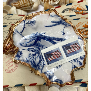 Signature Oyster Shell Jewelry Ring Dish Blue White Chinoiserie Bird