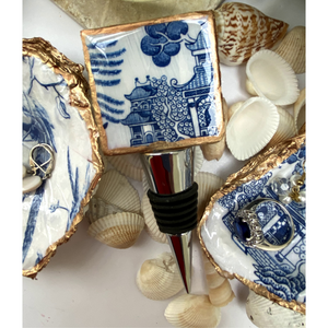 Bottle Stopper,  Marble Bottle Stopper,  Blue White Chinoiserie Chinese House