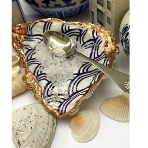 Signature Oyster Shell Jewelry Ring  Dish Blue White Seigaiha Design