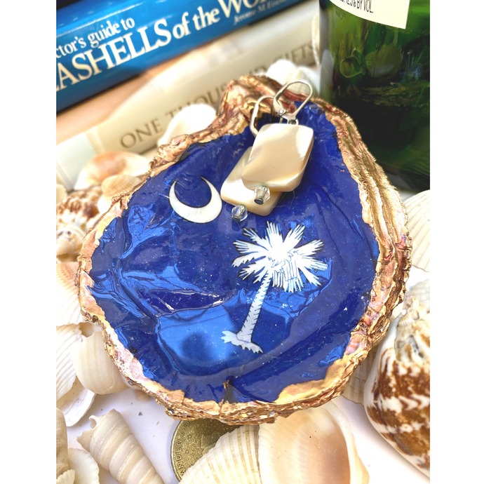 Signature Oyster Shell Jewelry Dish South Carolina State Flag Blue and White Design
