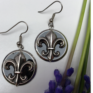 Earrings silver and black fleur de lis, French Ear Wire