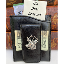 Load image into Gallery viewer, Money Clip, Deer, Black Faux Leather, Gift for Him