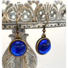 Earring, Iridescent cobalt blue, Antique Gold, French Ear Wire