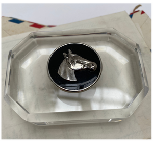 Equestrian Paperweight Silver Horse Head