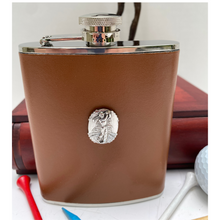 Leather Flask, Silver Golf Medallion
