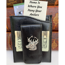 Money Clip, Deer, Black Faux Leather, Gift for Him