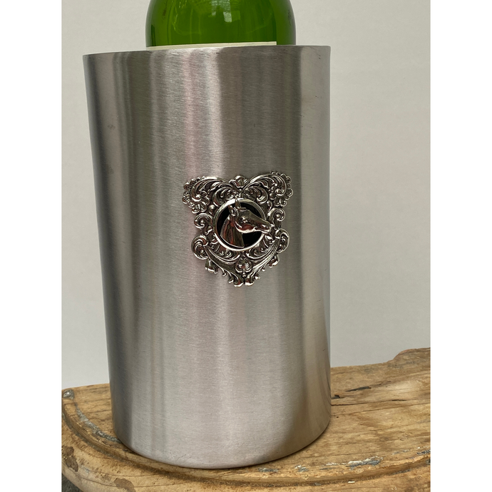 Equestrian Theme Stainless Steel Beverage Cooler Black Enamel Silver Horse