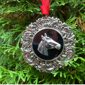 Christmas Ornament Silver Horse Head