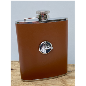 Brown Leather Flask Silver Horse Head