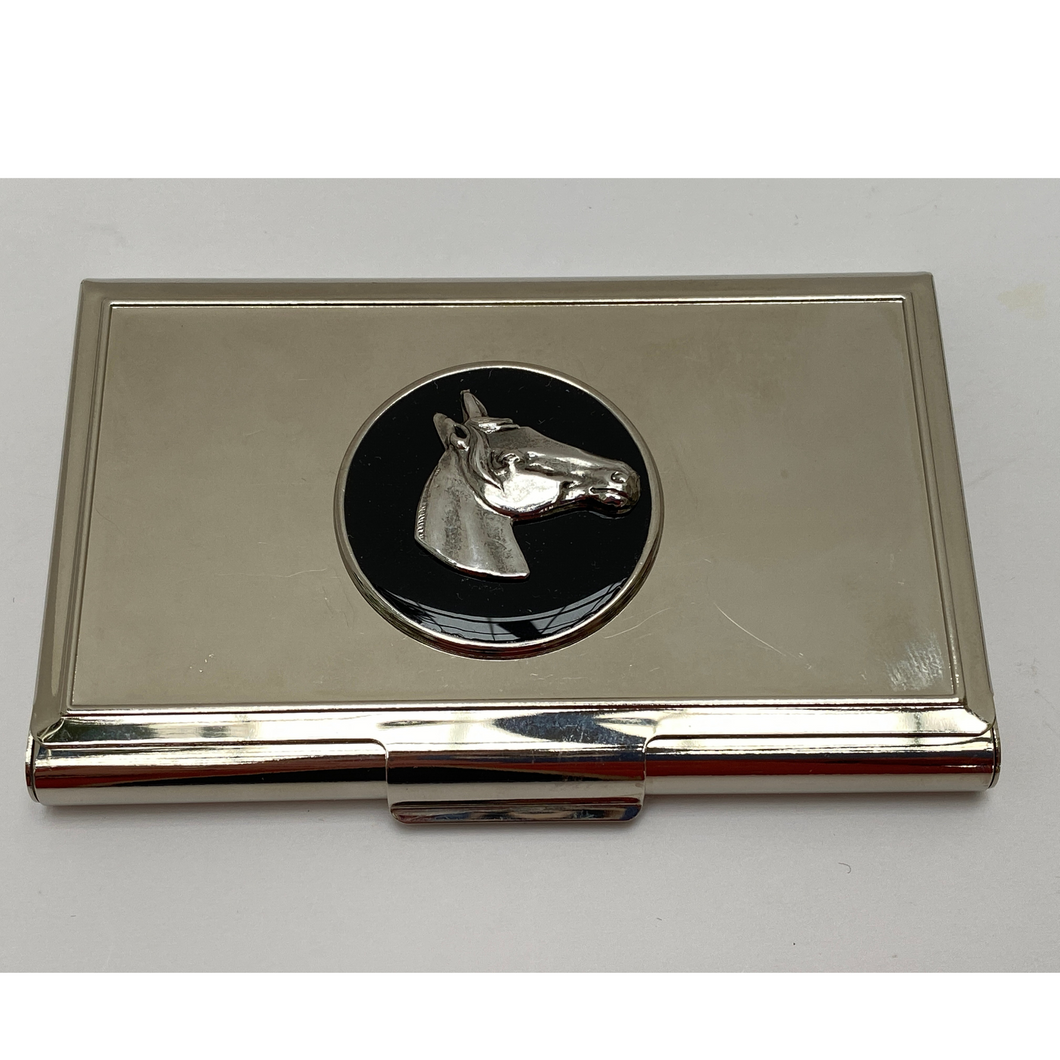 Business Card Holder Silver Horse Head Black Enamel Medallion