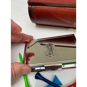 Business Card Holder, Silver Golfer Medallion