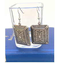 Load image into Gallery viewer, Earrings,  Vintage Antique Silver, Edwardian Style, Vintage Rectangle Earrings, Handmade in USA
