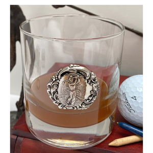 Bourbon Glass, Double Old Fashion, Silver Golfer Medallion