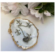 Load image into Gallery viewer, Mother's Day Gift, Fleur de Lis Oyster Shell Jewelry Dish, Necklace