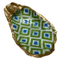 Load image into Gallery viewer, Oyster Shell Jewelry Dish, Green Ikat, Handmade