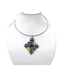 Load image into Gallery viewer, Necklace, Neck Wire, Mardi Gras Colors, Fleur de Lis