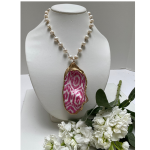Oyster Shell Necklace, Pink ikat pattern, gold leaf, pearl chain