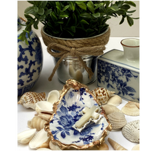Load image into Gallery viewer, Oyster Shell Dish,  Blue White Floral Design, Jewelry Dish