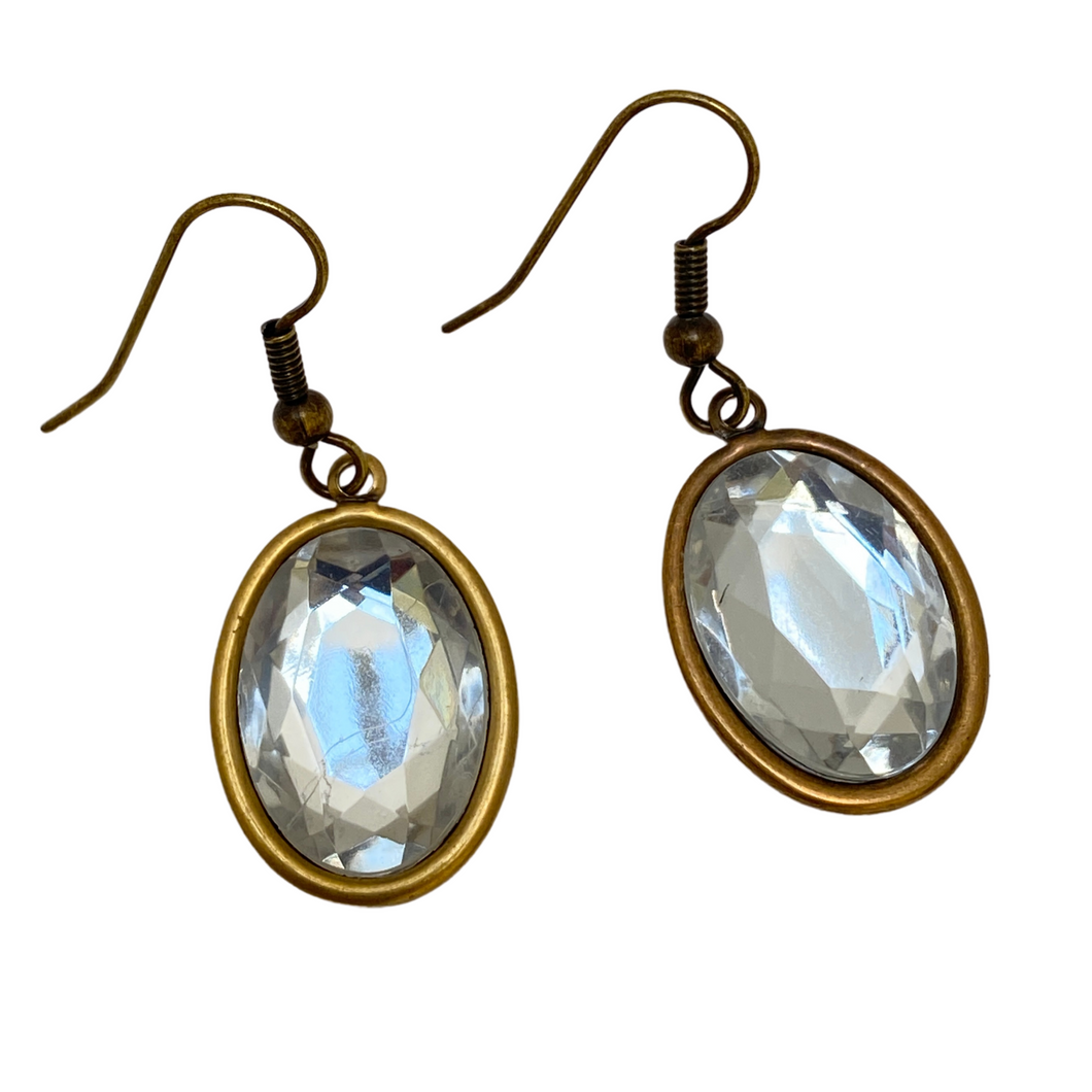 Earring, Antique Gold, Clear Crystal Cabochon, Handmade in USA