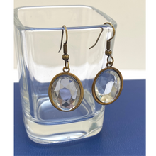 Load image into Gallery viewer, Earring, Antique Gold, Clear Crystal Cabochon, Handmade in USA