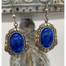 Load image into Gallery viewer, Earrings, Vintage Antique Silver Setting, Oval Faux Lapis Setting, Handmade in USA