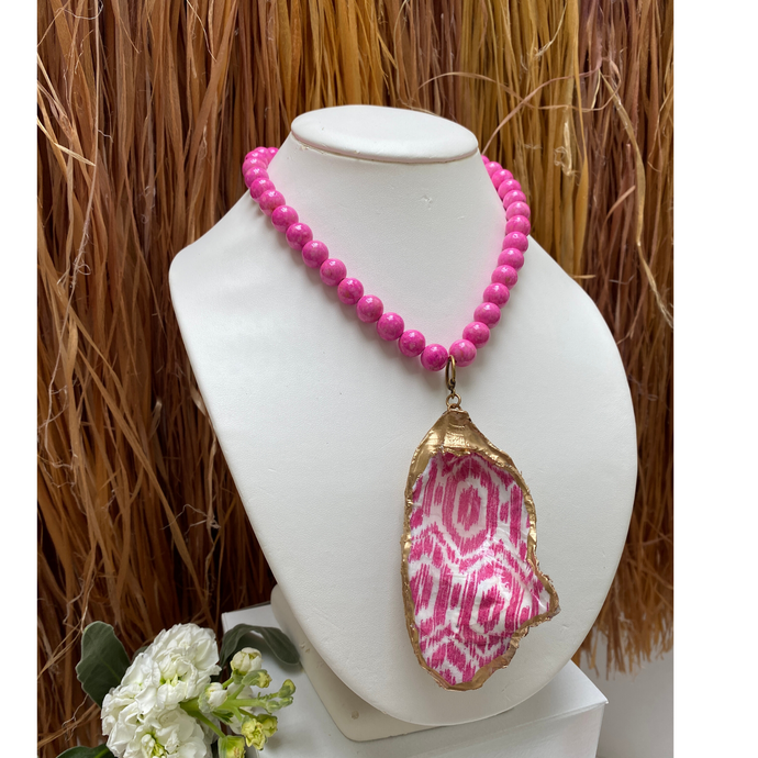 Oyster Shell Necklace, Pink ikat pattern, gold leaf, pink Bead Chain