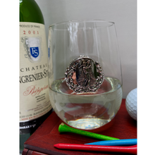 Load image into Gallery viewer, Stemless Wine Glass, Silver Golf Medallion