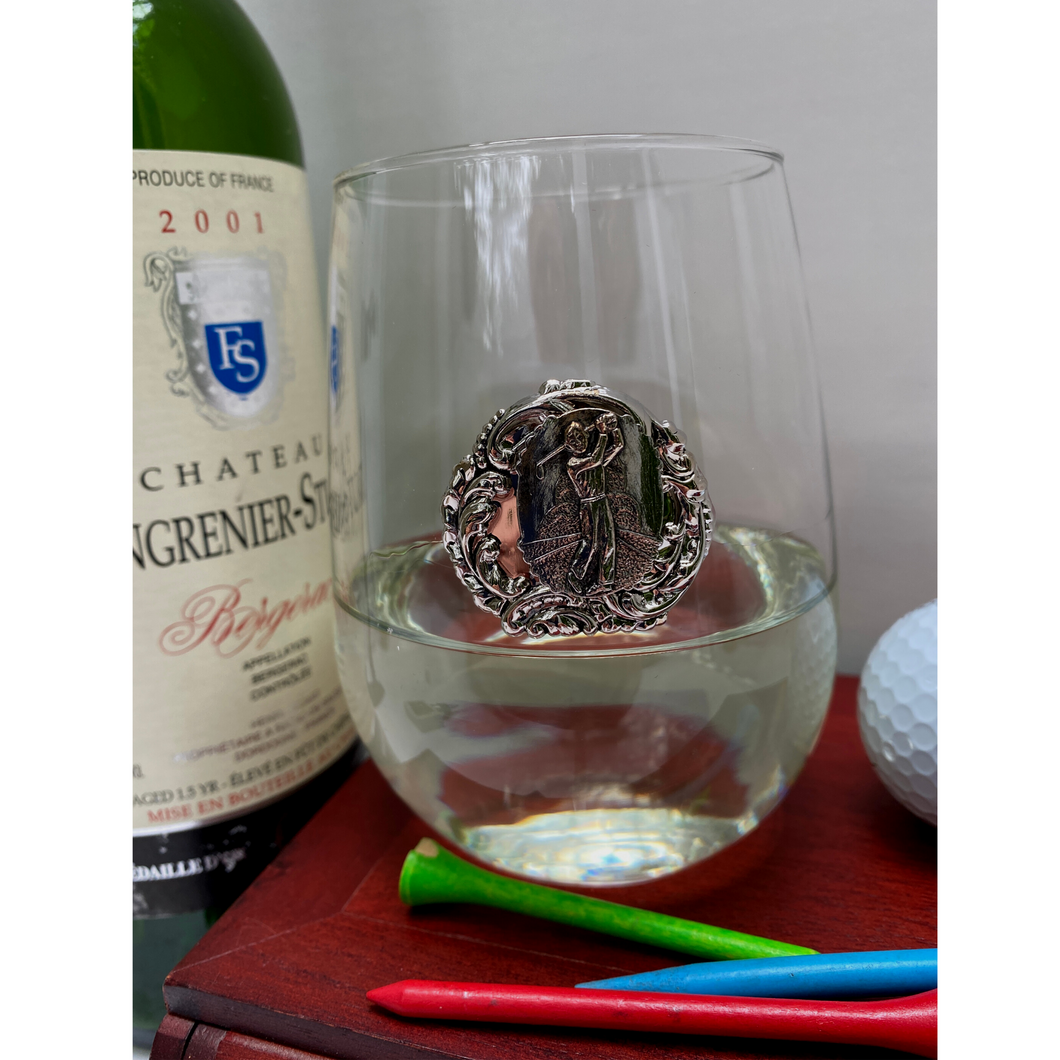 Stemless Wine Glass, Silver Golf Medallion