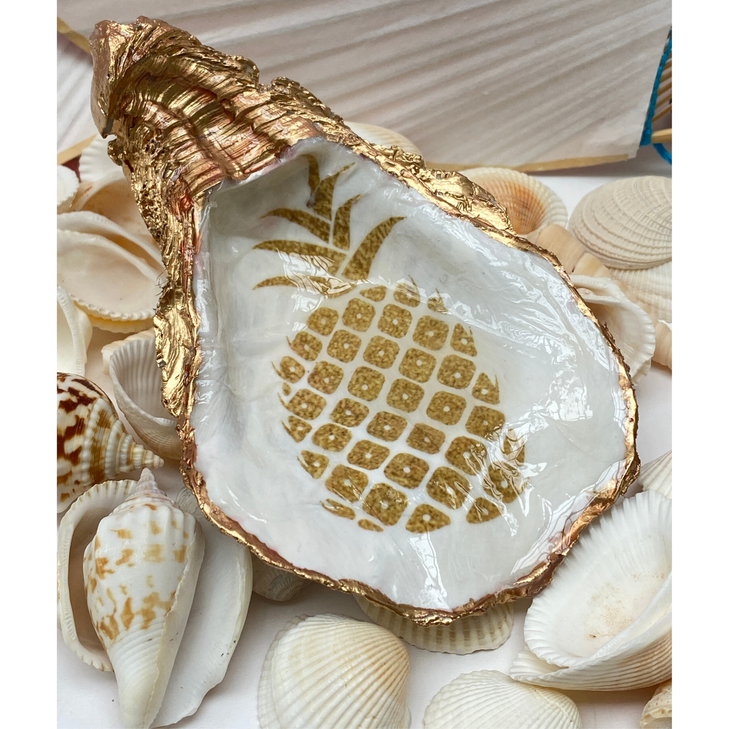 Oyster Shell Jewelry Dish, Pineapple Art Design