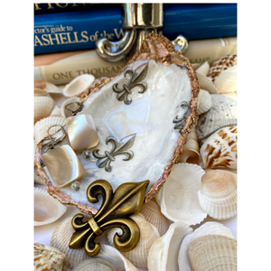 Signature Oyster Shell Jewelry Dish Fleur de lis design