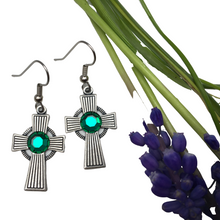 Load image into Gallery viewer, Earrings, Irish Celtic Cross,  Stripe Pattern, Silver Plate, Emerald Crystal, Handmade in USA