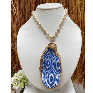 Oyster Shell Necklace, Blue & White, Pearl Chain