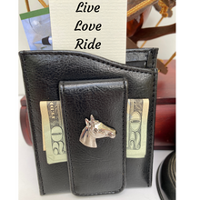 Load image into Gallery viewer, Money Clip, Black Faux Leather, Silver Horse Medallion