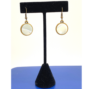 Earring, Round Mother of Pearl, Antique Gold Setting